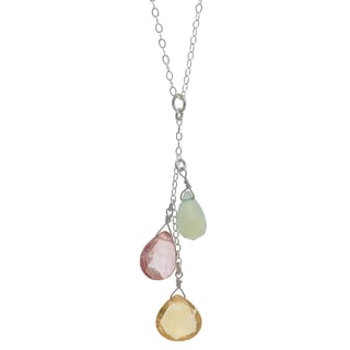 Ashanti Sterling Silver Citrine, Pink Quartz and Aqua Chalcedony Necklace (Sri Lanka)