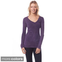AtoZ Women's Long Sleeve V-neck Top