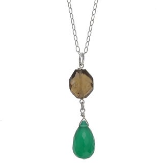 Ashanti Silver Emerald Green Chalcedony and Smoky Quartz Necklace (Sri Lanka)