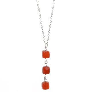 Ashanti Sterling Silver Carnelian Dangle Handmade Necklace (Sri Lanka)
