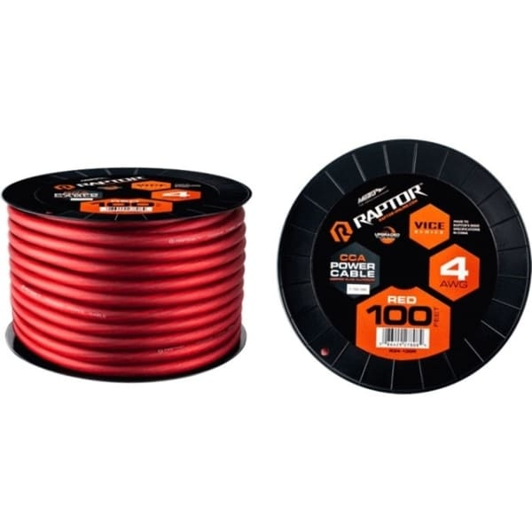 METRA 100ft 4 AWG Red CCA Vice-Series Power Cable