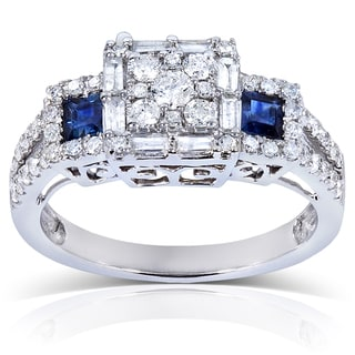 Annello 14k White Gold Blue Sapphire and 3/4 ct TDW Ladies Diamond Engagement Ring (H-I, I1-I2)