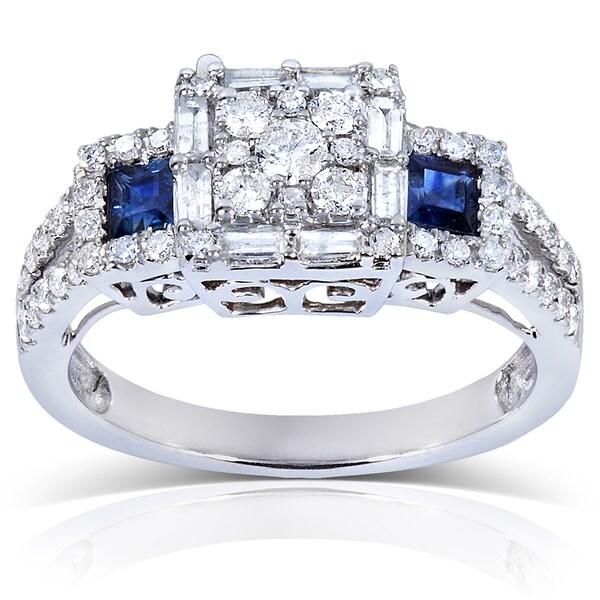 Annello 14k White Gold Blue Sapphire and 3/4 ct TDW Ladies Diamond Engagement Ring (H-I, I1-I2)