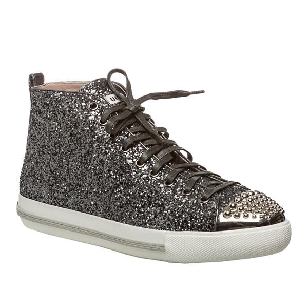 Miu Miu Women's Glittery Silver Studded High-top Sneakers