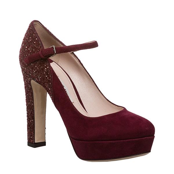 Miu Miu Women's Burgundy Suede and Glitter Platform Heels