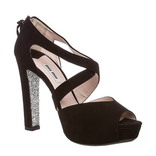 Miu Miu Women's Black Suede Glitter Sole Open-toe Pumps