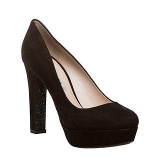 Miu Miu Women's Black Suede Glitter-sole Platform Pumps