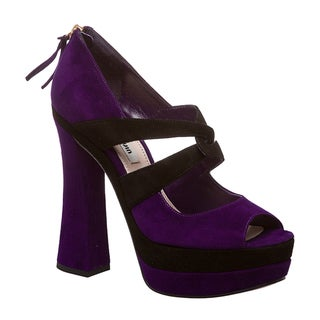 Miu Miu Women's Black/ Purple Suede Peep-toe Platform Pumps