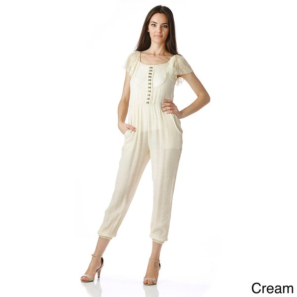 Stanzino Women's Lace Sleeve Elastic Waist Jumpsuit