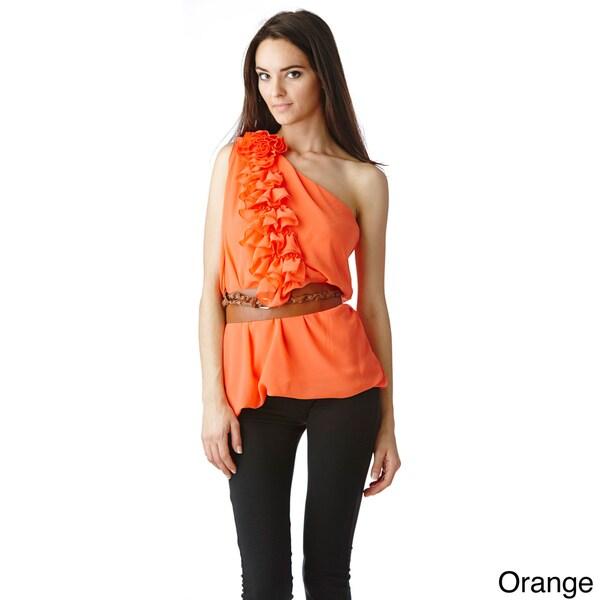 Stanzino Women's Single Shoulder Belted Chiffon Top