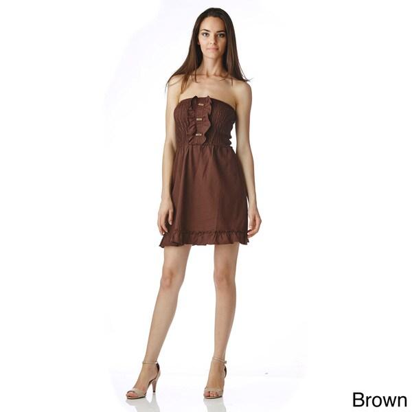 Stanzino Women's Strapless Smocked Casual Mini Dress