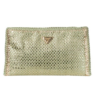 prada nylon zip pouch - Prada 'Madras' Metallic Woven Leather Clutch - 15535461 ...