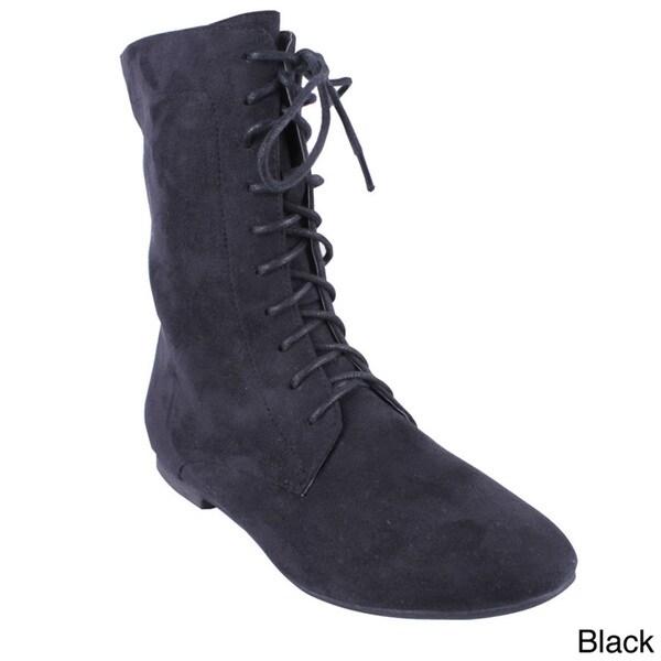 Wild Diva Women's 'Mason-31' Suedette Lace-up Combat Boots