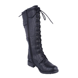 Wild Diva Women's 'Timberly-88' Lace-up Combat Boots