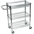 Rolling Small 3 Shelf Wire Tub Heavy Duty Transport Utility Cart