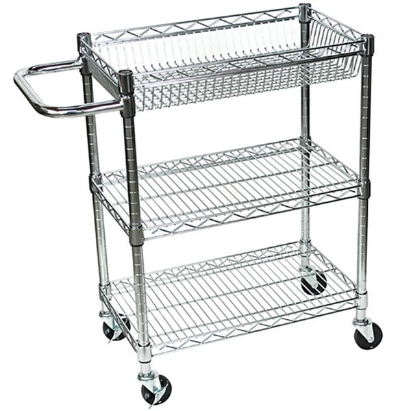 rolling small 3 shelf wire tub heavy duty transport utility cart - 15535508