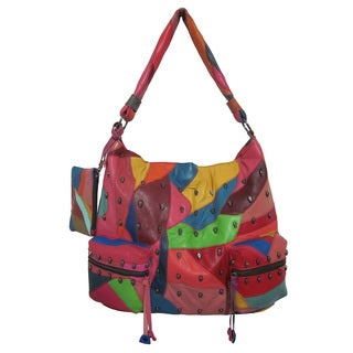 Amerileather 'QMetal' Patchwork Mini Skulls Oversized Shoulder Bag