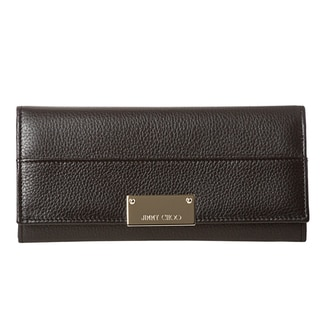 Jimmy Choo 'Reza' Black Grainy Leather Wallet