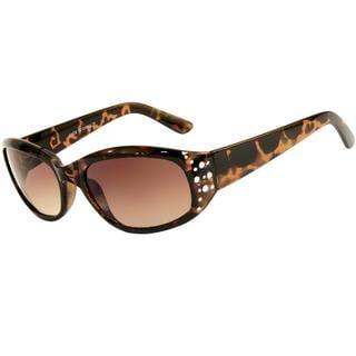 Envy Women's 'Angel' Brown Tortoise Rhinestone Sunglasses