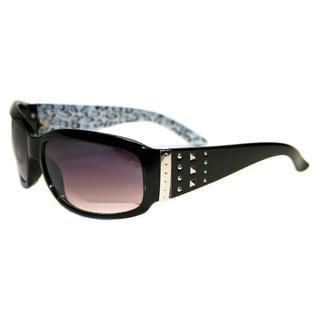Envy Women's 'Sugar' Black Studded Temple Sunglasses