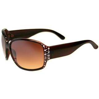 Envy Women's 'Sunshine' Brown Rhinestone Accent Sunglasses