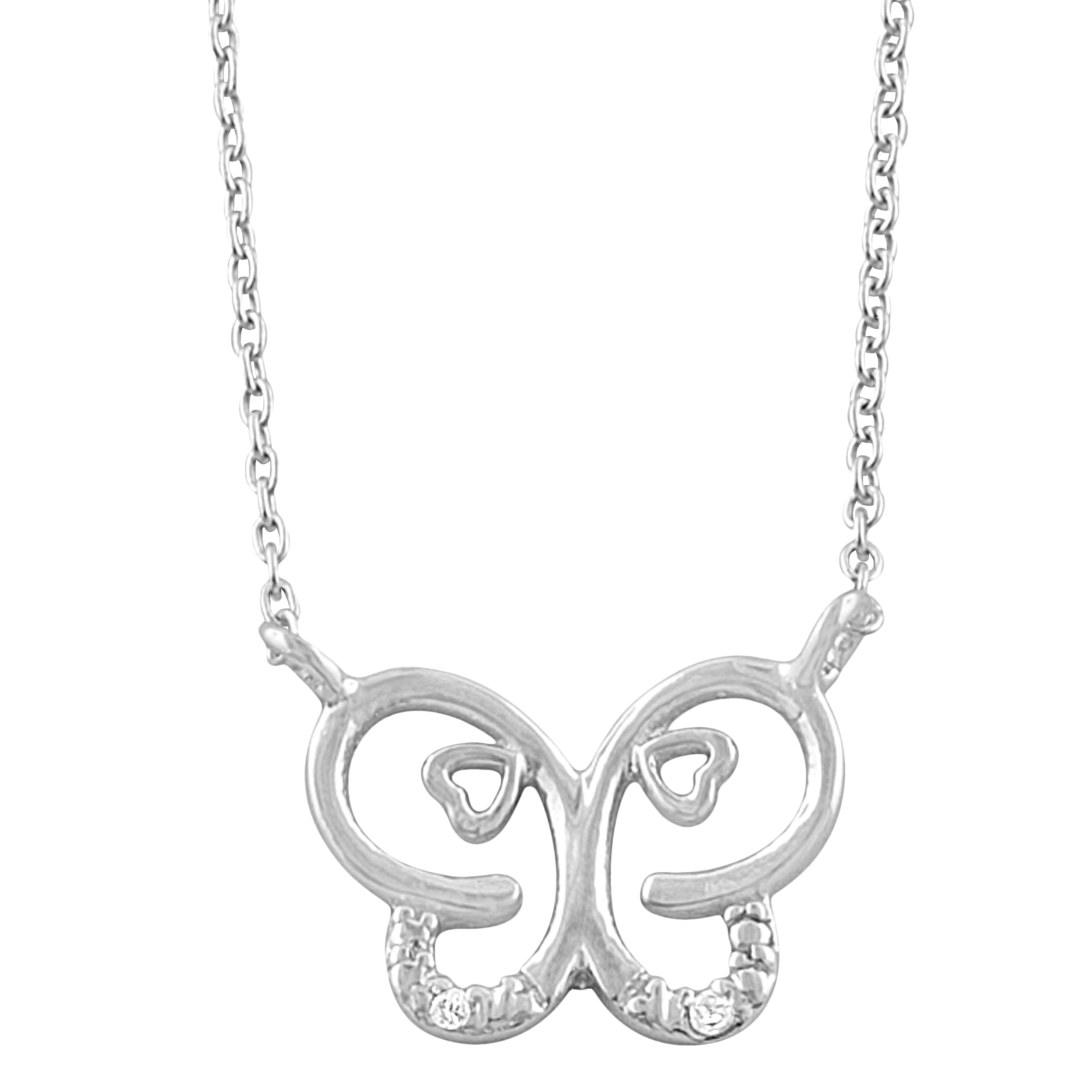 Fremada Rhodium-plated Silver White Cubic Zirconia Butterfly Necklace