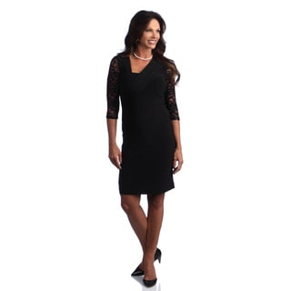 Alex Evenings Short Matte Jersey and Lace Dress