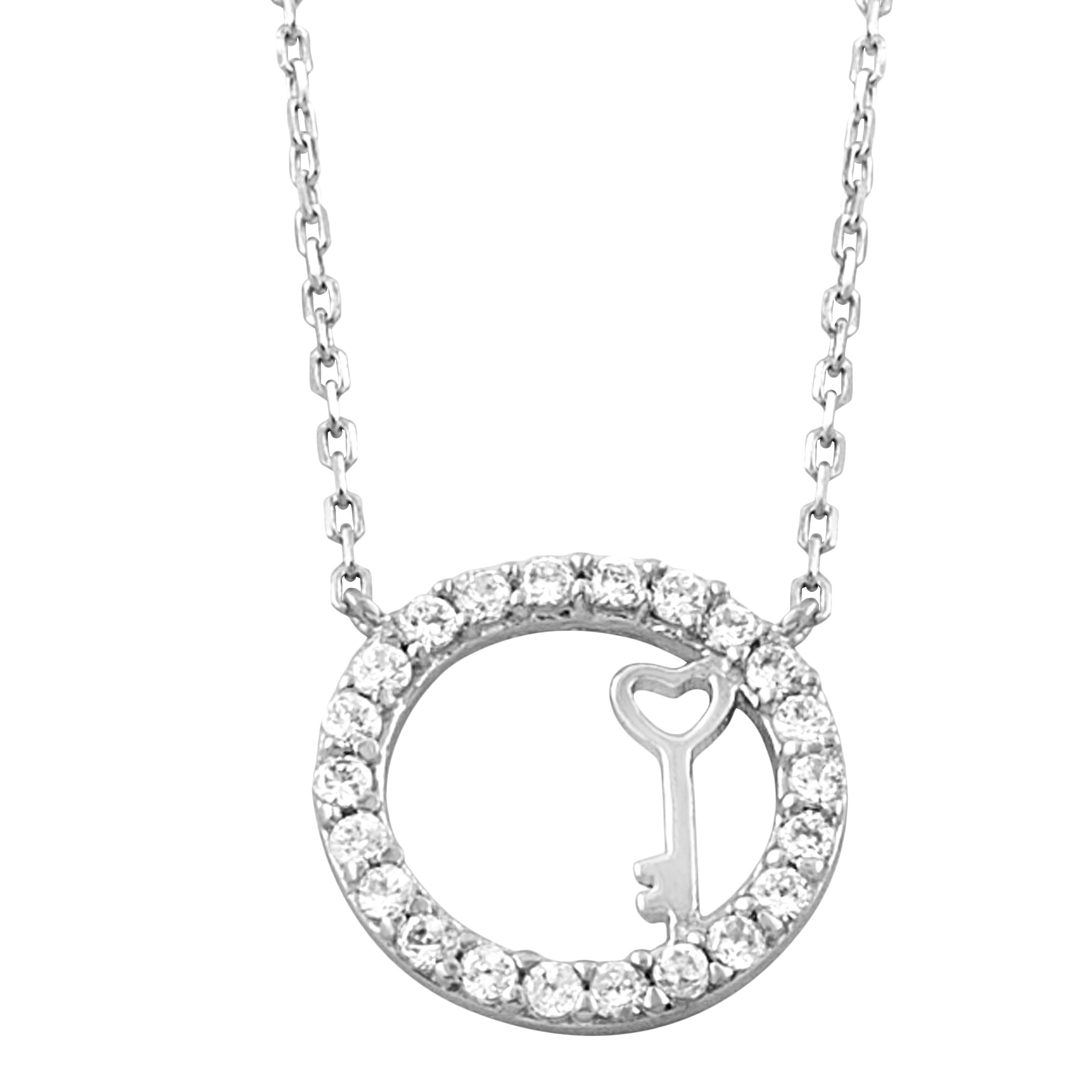 Fremada Rhodium-plated Silver White Cubic Zirconia Key in Oval Necklace