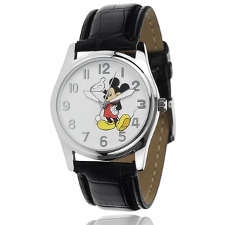Disney Mickey Mouse Unisex Black Faux Leather Strap Analog Watch
