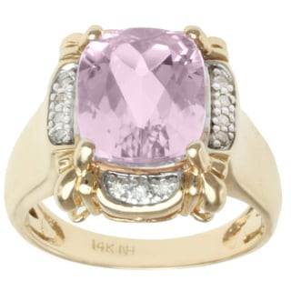 Michael Valitutti 14K Yellow Gold Cushion-cut Kunzite and Diamond Ring