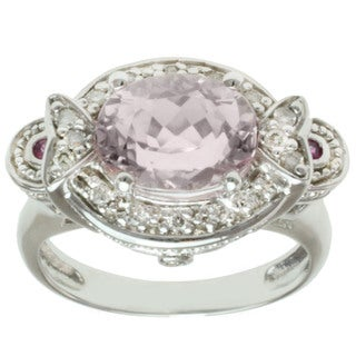 Michael Valitutti 14k White Gold Kunzite, Pink Sapphire and Diamond Ring