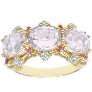 Michael Valitutti 14k Yellow Gold 3 Prong-set Kunzite, Pink Sapphire and Diamond Ring