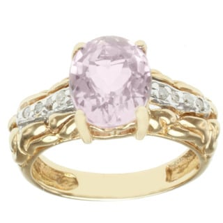 Michael Valitutti 14K Yellow Gold Oval-cut Prong-set Kunzite and Diamond Ring