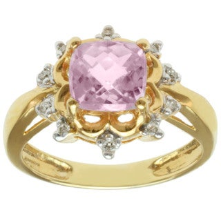 Michael Valitutti 14K Yellow Gold Cushion-cut Pink Kunzite and Diamond Ring