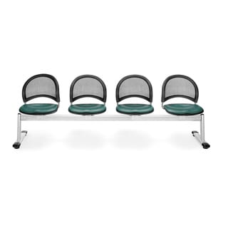 OFM Moon Series Teal Vinyl 4-seat Seating