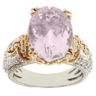 Michael Valitutti 14k Two-tone-gold Oval-cut Kunzite and Diamond Ring