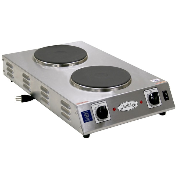 Grey/Black Professional Double Space Saver Hot Plate CDR-2CFBB