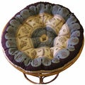 Celebration Papasan Circle Chocolate Multi Floral Cushion