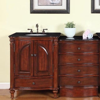 53.5-inch Black Galaxy Granite Stone Top Bathroom Single Sink Modular Vanity