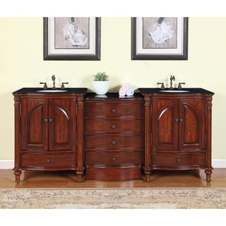 83-inch Black Galaxy Granite Stone Top Bathroom Double Sink Modular Vanity