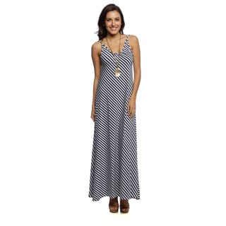 White Mark Women's 'Juliette' Backless Striped Maxi Dress