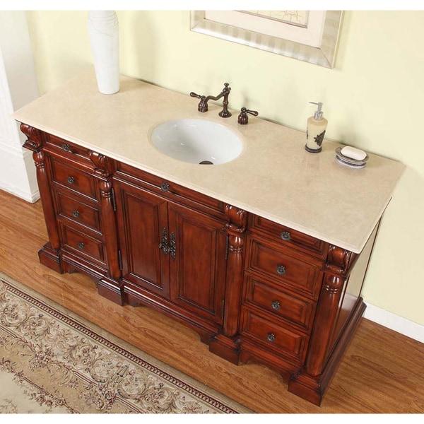 72 bathroom vanity cabinet only - Silkroad Excluisve 62 Inch Natural Stone Countertop