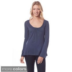 AtoZ Women's Long Sleeve Scoop Neck Top