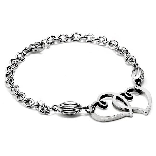 ELYA Stainless Steel Double Interlocking Heart Bracelet