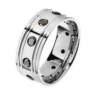 Stainless Steel Men's Black Cubic Zirconia Ring