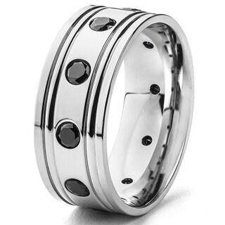 Stainless Steel Men's Black Cubic Zirconia Ring