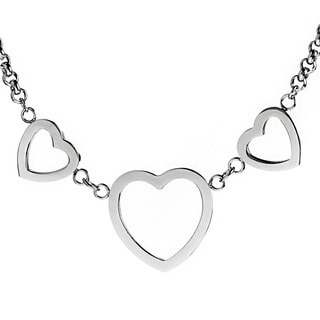 ELYA Designs Stainless Steel Triple Heart Charm Necklace