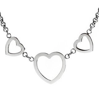 ELYA Stainless Steel Triple Heart Charm Necklace