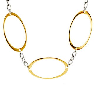 ELYA Two-tone Steel Oval Cutout Link Necklace
