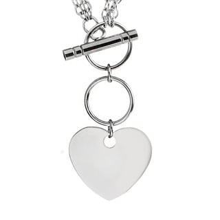 ELYA Stainless Steel Triple Chain Heart Charm Toggle Necklace